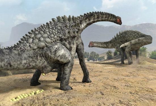 Hình minh họa khủng long đẻ trứng.