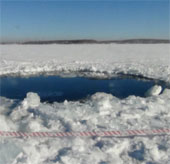 Radar phát hiện hố thiên thạch dưới hồ Nga