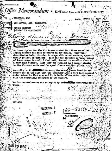Biên bản ghi nhớ về UFO của FBI vào năm 1950.