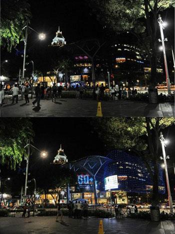 Một trung tâm mua sắm tại Singapore trước (ảnh dưới) và sau (ảnh trên) khi đèn điện tắt trong Giờ Trái đất.