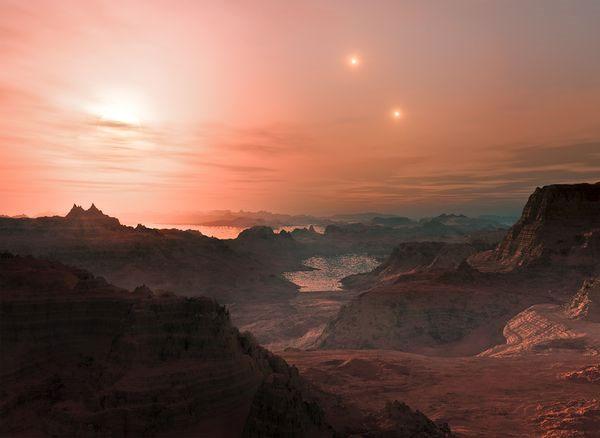 """Bức ảnh này thu được từ kính thiên văn High Accuracy Radial velocity Planet Searcher ( HARPS) thuộc Tổ chức Nghiên cứu vũ trụ châu Âu tại bán cầu Nam , cho thấy hình ảnh về ba ngôi sao lùn đỏ trong đó có một ngôi sao mang tên Gliese 667C (bên trái) được gọi với cái tên """"super Earth"""" và hai ngôi sao bé hơn và dịu hơn mặt trời ( bên phải) đang được bảo quanh bởi một vùng đá. Nhờ phổ kế HARPS mà trung tâm này đã phát hiện ra nhiều hành tinh lạ ngoài không gian."""