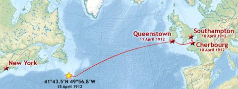 Bản đồ mô tả hành trình định mệnh của tàu Titanic, kể từ khi xuất phát tại Southampton ngày 10/4/1912 tới khi gặp nạn tại tây bắc Thái Bình Dương vào ngày 14/4/1912. Thảm họa Titanic đã khiến 1.514 người thiệt mạng.