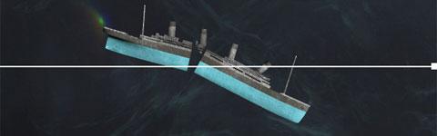 Chỉ 7 phút sau, con tàu nặng 52.310 tấn bắt đầu bị gãy đôi do vỏ tàu không chịu được sự kéo căng ở phần giữa ống khói thứ ba và ống khói thứ tư.