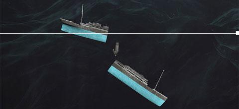 2h19, sau khi bị tách hoàn toàn khỏi phần đuôi, phần mũi của tàu Titanic bắt đầu chìm xuống. Phần đuôi tàu vẫn còn nổi trên mặt nước nhưng cũng bắt đầu chìm dần vì nước đã tràn vào khoang động cơ.