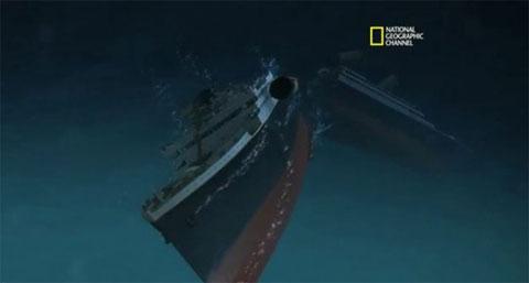 Hình vẽ mô phỏng thời điểm phần mũi và phần đuôi tàu Titanic tách rời nhau.