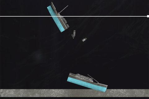 Phần đuôi tàu Titanic bắt đầu chúc thẳng xuống đáy biển vào khoảng 2h20. Trong khi đó, phần mũi tàu chạm tới đáy biển lúc 2h22 sau khi lao xuống với vận tốc khoảng 40 tới 64km/giờ. Cú va chạm mạnh với đáy biển khiến phần vỏ ở mũi tàu Titanic bị biến dạng.