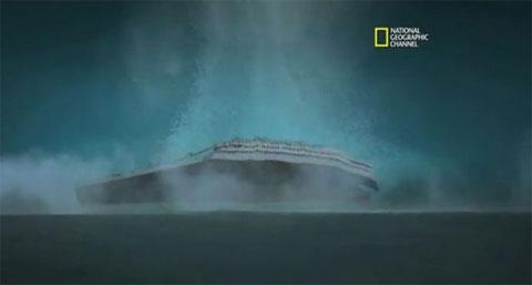 Hình ảnh dựng lại thời điểm phần mũi tàu Titanic chạm tới đáy biển.
