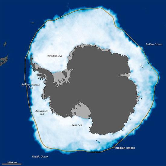 Diện tích băng ở Nam Cực đạt kỷ lục vào tháng 9/2012.