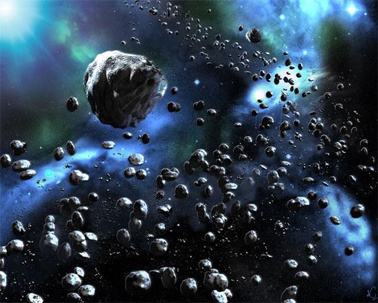 Hình minh họa các thiên thạch trong Thái Dương Hệ.