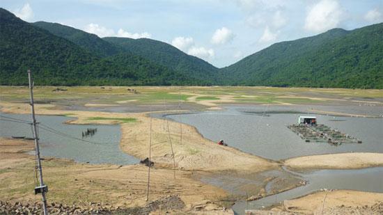 Hồ chứa nước Mỹ Thuận, huyện Phù Cát đã hết nước