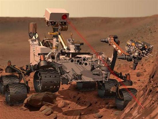 Hình minh họa tàu thám hiểm Curiosity hoạt động trên sao Hỏa.
