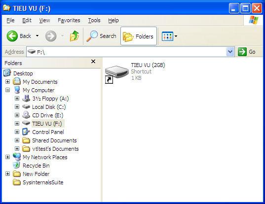 Shotcut ổ đĩa giả mạo trên USB do virus tạo ra