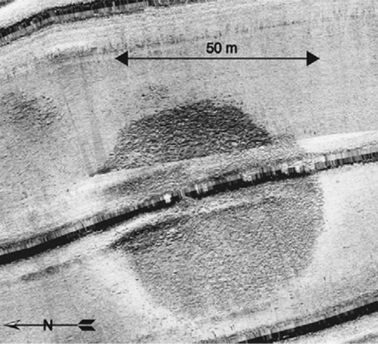 Cấu trúc lạ được phát hiện lần đầu tiên trong một cuộc khảo sát  biển bằng định vị âm thanh vào năm 2003.