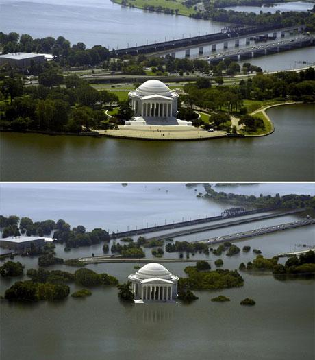 Đài tưởng niệm Thomas Jefferson ở thành phố Washington, Mỹ ngày nay (trên) và khi mực nước biển dâng thêm 7,5 m trong tương lai (dưới).