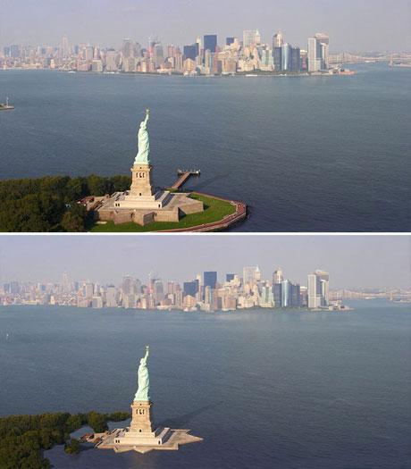 Nếu nhìn qua, bạn sẽ thấy tượng Nữ thần Tự do dường như không thay đổi, song bạn sẽ thấy sự khác biệt khi nhìn xuống phía dưới tượng.