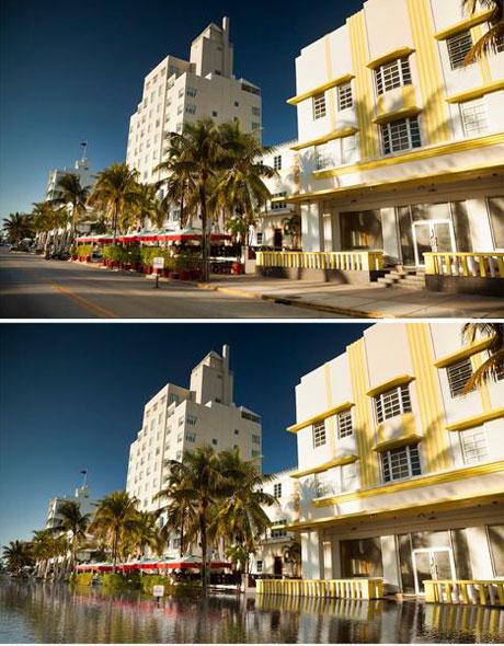 Một đường trên bãi biển Miami hiện nay (trên) và khi nước biển dâng thêm 3,6m (dưới).
