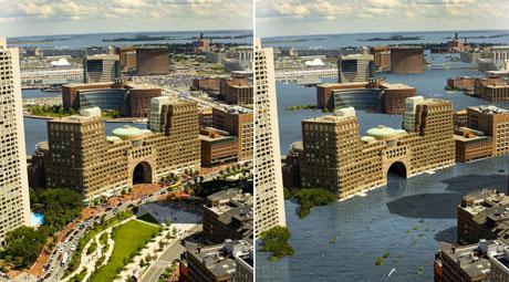 Cảng Boston hiện nay (trái) và khi nước biển dâng thêm (phải).