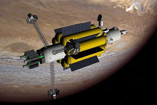 Hình minh họa một phi thuyền bay trên bề mặt sao Hỏa.