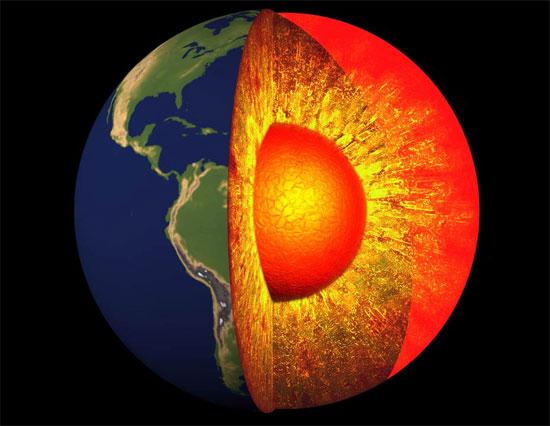 Lõi trong của trái đất là một khối cầu rắn có nhiệt độ lên tới 6.000 độ C, tương đương nhiệt độ bề mặt của mặt trời.