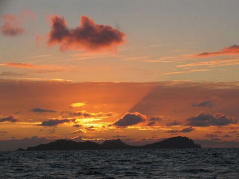 Một con cá đang bơi lội tung tăng nhưng là trên bầu trời đảo Blasket, Ireland.