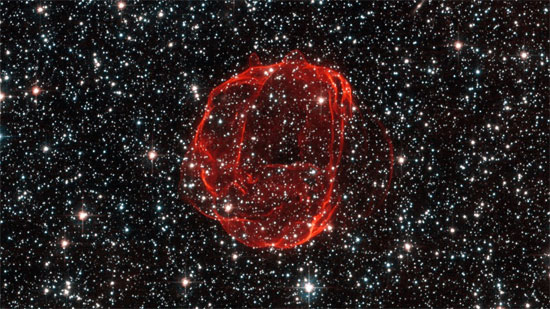 Đám mây khí tạo thành một thứ giống như bong  bóng màu đỏ trong chòm sao Dorado.