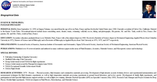 Ảnh chụp phần giới thiệu về Trịnh Hữu Châu tại website chính thức của NASA