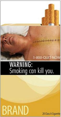 Một trong số những hình ảnh cảnh báo tác hại của thuốc lá