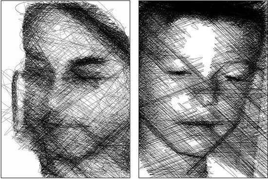 Dù chỉ là những đường thẳng và đường vẽ ngoằn nghoèo nhưng tất cả hợp thành chân dung một khuôn mặt.