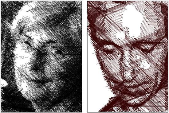 Sơ đồ mô phỏng quá trình vẽ phác thảo một khuôn mặt của robot