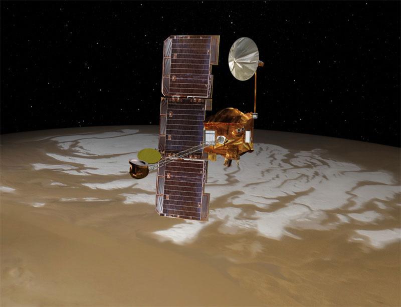 Hình minh họa phi thuyền Mars Odyssey bay quanh sao Hỏa.