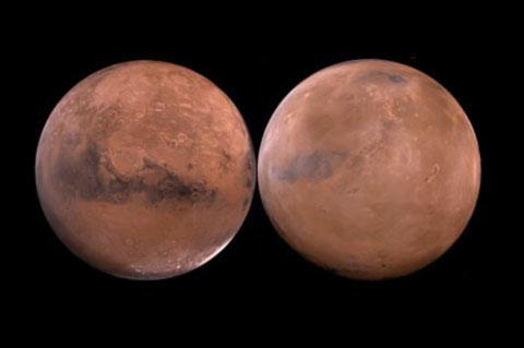Hai nửa sao Hỏa hoàn toàn khác nhau. Điều này làm đau đầu các nhà khoa học nhiều năm nay. Bắc bán cầu của hành tinh đỏ là bình nguyên thấp và phẳng, là một trong những bề mặt phẳng phiu nhất trong tất cả các hành tinh thuộc Thái Dương Hệ. Một số giả thuyết cho rằng nước từng tồn tại ở bán cầu Bắc, do đó bề mặt nơi này nhẵn và phẳng. Trong khi đó, bề mặt nam bán cầu lồi lõm, gãy khúc, có độ cao trung bình từ 4- 8km so với bắc bán cầu. Các nhà khoa học cho rằng, có thể nam bán cầu từng chịu một trận thiên thạch tàn phá trên diện rộng.