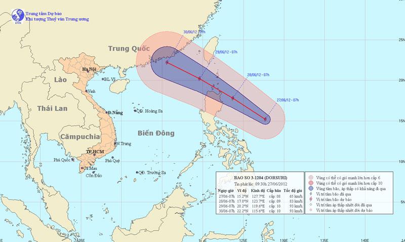 Bão mạnh đang tiến vào biển Đông