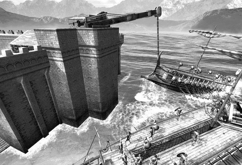 """Nếu Trireme là những bá chủ đại dương thời cổ đại thì """"Móng Archimedes"""" là khắc tinh của chúng ở bờ biển"""
