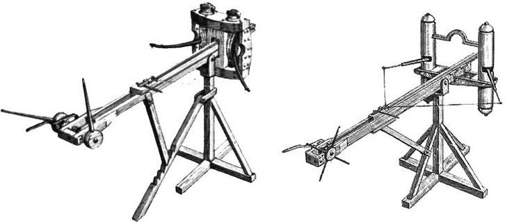 Một phiên bản cỡ nhỏ dành cho một xạ thủ trong quân đội La Mã được gọi là Scorpio (trái). Bản nâng cấp của nó là Cheiroballistra (phải), nghĩa là Ballista cầm tay, nhỏ và dễ thao tác hơn.