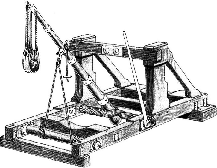 Loại máy bắn đá dùng lực của dây lò xo xoắn để đẩy đá đi.