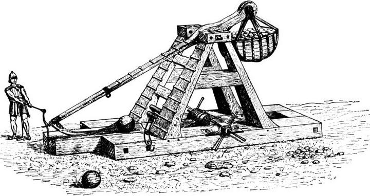 Loại máy bắn đá sử dụng lực đòn bẩy, tạo ra từ vật nặng ở đầu bên kia của cần