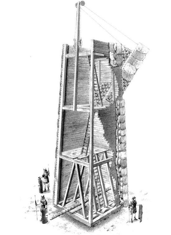 Tháp công thành đôi khi là một biến thể nhiều tầng của xe đập thành
