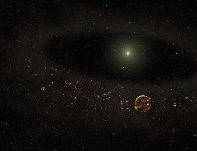 Ảnh mô phỏng tình trạng hiện thời: vành đai bụi đã biến mất trong khi các thiên thạch và hành tinh bao quanh ngôi sao vẫn còn đó.