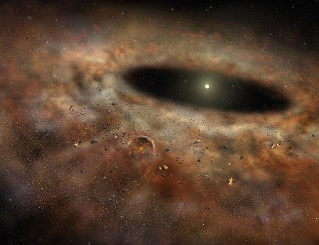 Hình mô phỏng vành đai bụi vũ trụ dày đặc bao quanh quỹ đạo ngôi sao TYC 8241 2652.