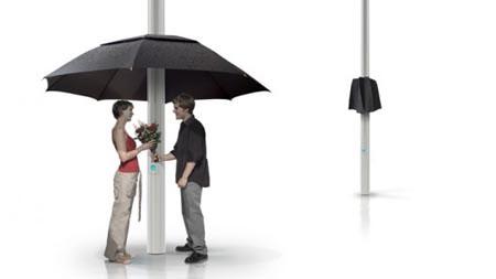 Ô gắn với cột đèn, tự động xòe khi có mưa