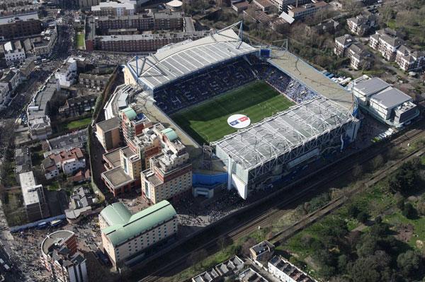 Sân Stamford Bridge của Chelsea nhìn từ trên cao.