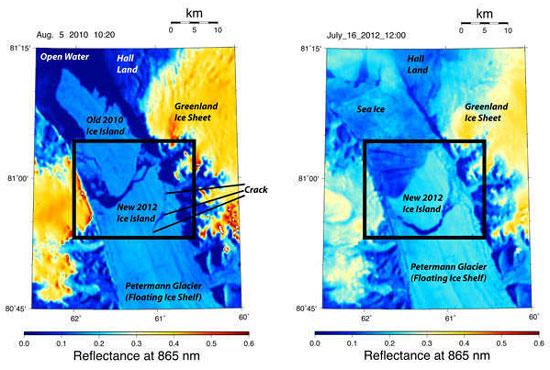 Núi băng bị xé toạc khỏi Greenland