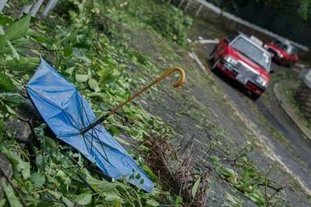 Một chiếc ô bị hỏng và tràn ngập lá cây trên đường phố Hồng Kông sau khi bão Vicente đổ bộ.