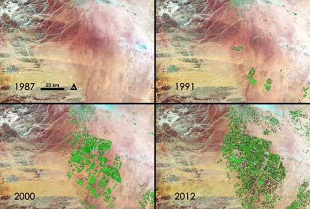 Saudi Arabia xanh hóa - cho thấy Saudi Arabia ngày càng xanh tươi sau 25 năm nhờ khai thác hiệu quả nước ngầm