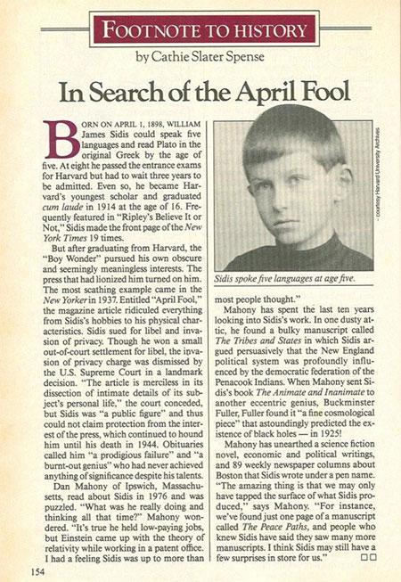 Một trong số những bài báo viết về William James Sidis.