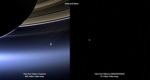 Hình ảnh Trái đất nhìn từ sao Thổ