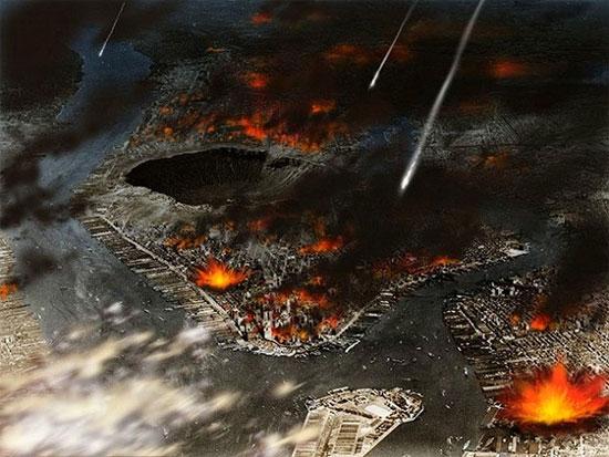 Hình ảnh nền là thành phố Manhattan với một hố thiên thạch cực lớn trong làn mưa các thiên thạch nhỏ.
