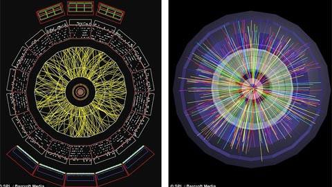 Hướng của các đường kẻ thể hiện sự vận động của các hạt sau khi va chạm. Màu sắc biểu trưng cho cường độ của chúng, ví dụ như màu vàng cường độ thấp và màu đỏ là cường độ cao. Ảnh: Barcroft Media