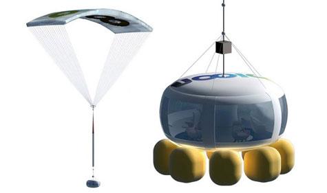 Hệ thống hạ cánh bao gồm bộ phận dù bên trên và 8 túi khí hấp thụ va đập bên dưới cabin. (Ảnh: Gizmag)