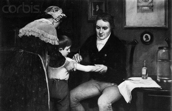 Bác sĩ Edward Jenner tiêm liều vắc-xin đậu mùa đầu tiên cho cậu bé James Phipps vào ngày 14/5/1796.